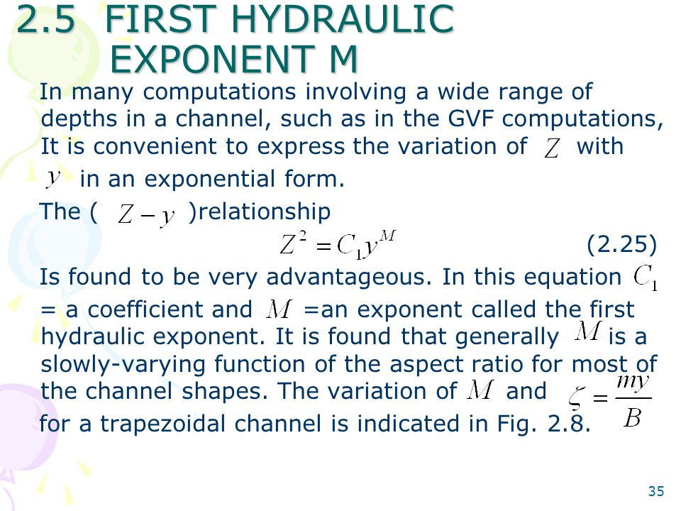 2.5 FIRST HYDRAULIC EXPONENT M