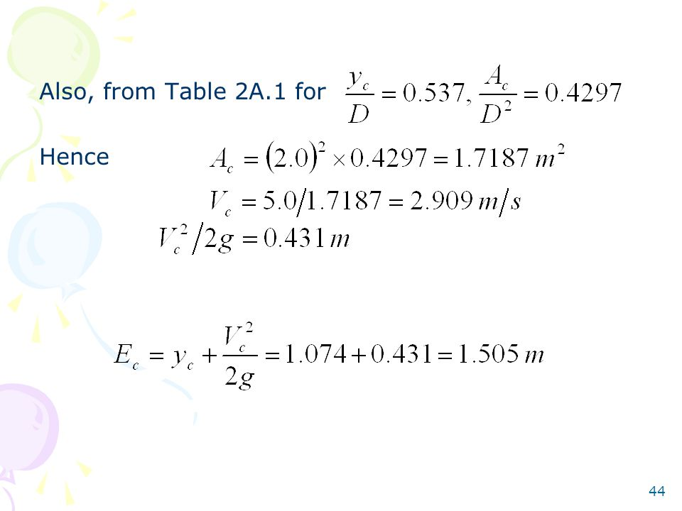 Also, from Table 2A.1 for Hence