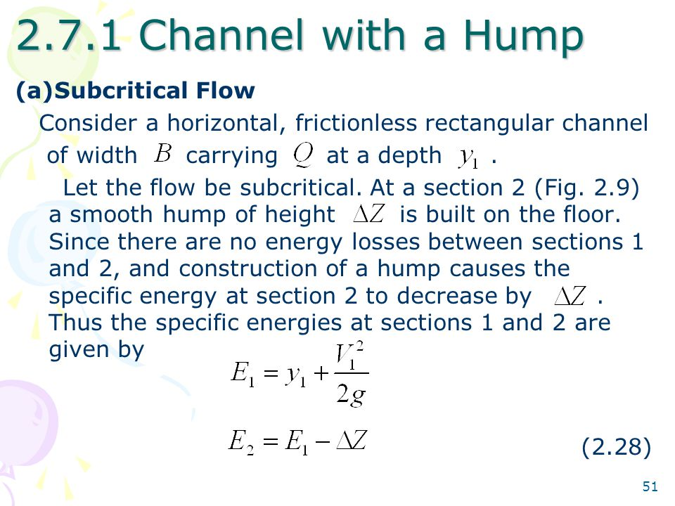 2.7.1 Channel with a Hump Subcritical Flow