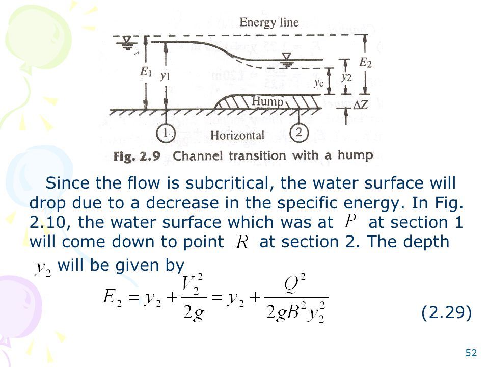 Since the flow is subcritical, the water surface will drop due to a decrease in the specific energy. In Fig. 2.10, the water surface which was at at section 1 will come down to point at section 2. The depth