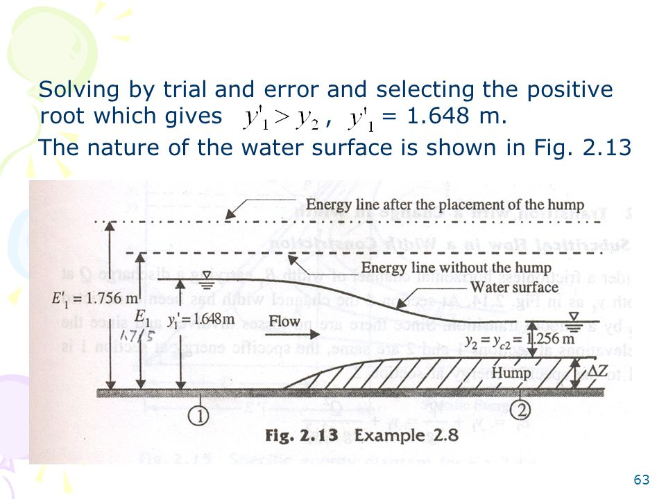 Solving by trial and error and selecting the positive root which gives , = 1.648 m.