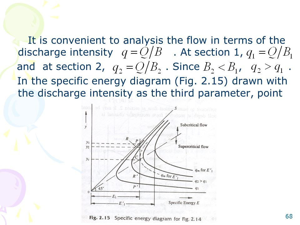 It is convenient to analysis the flow in terms of the discharge intensity . At section 1,