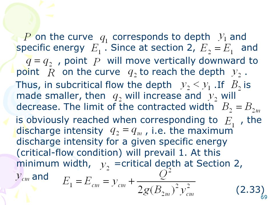on the curve corresponds to depth and specific energy