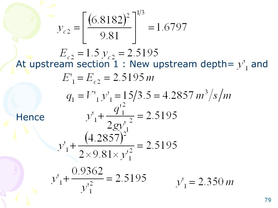At upstream section 1 : New upstream depth= and