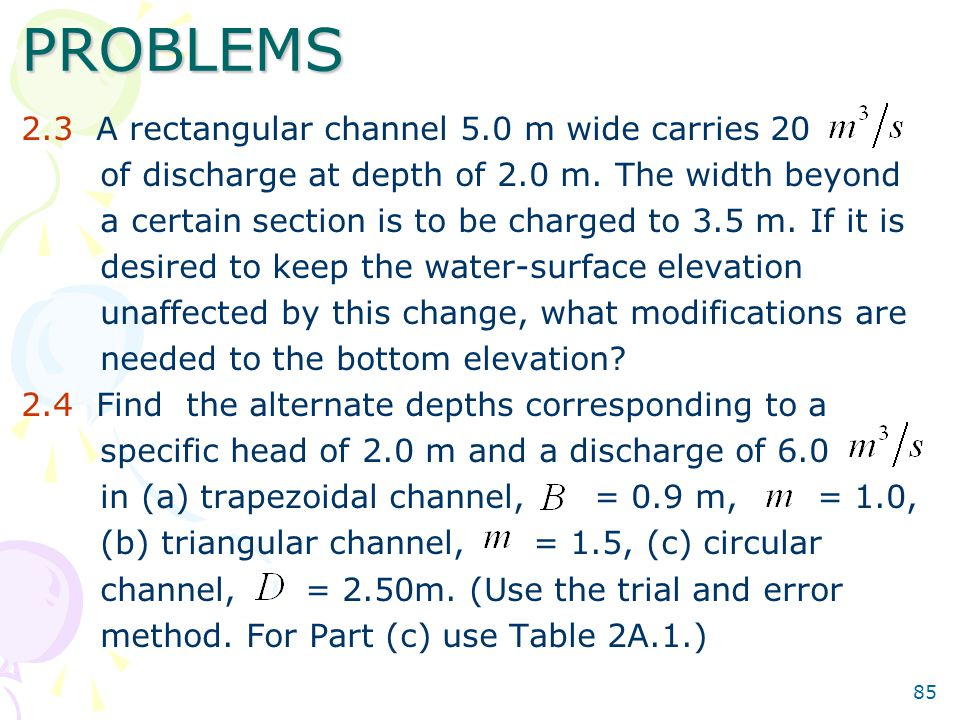 PROBLEMS 2.3 A rectangular channel 5.0 m wide carries 20