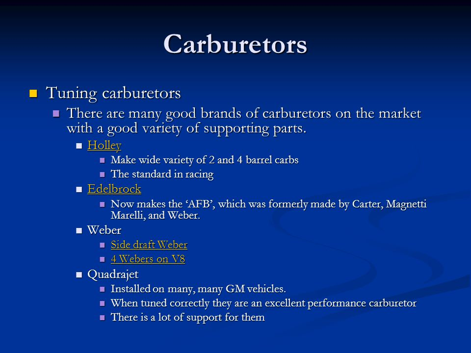Carburetors Tuning carburetors
