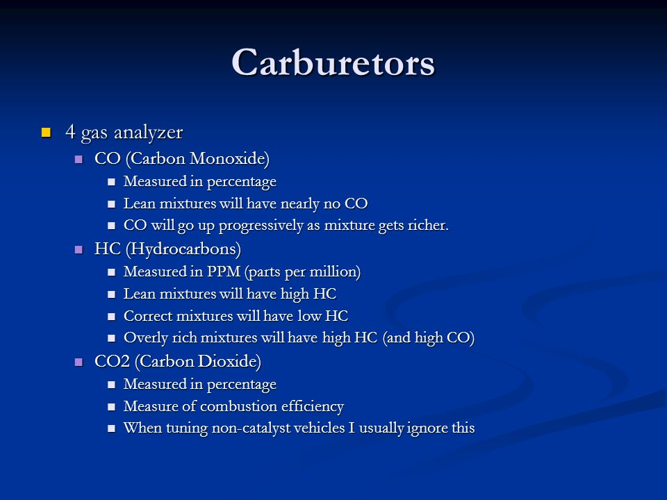 Carburetors 4 gas analyzer CO (Carbon Monoxide) HC (Hydrocarbons)