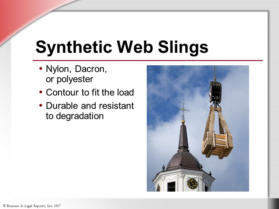 Synthetic Web Slings Nylon, Dacron, or polyester