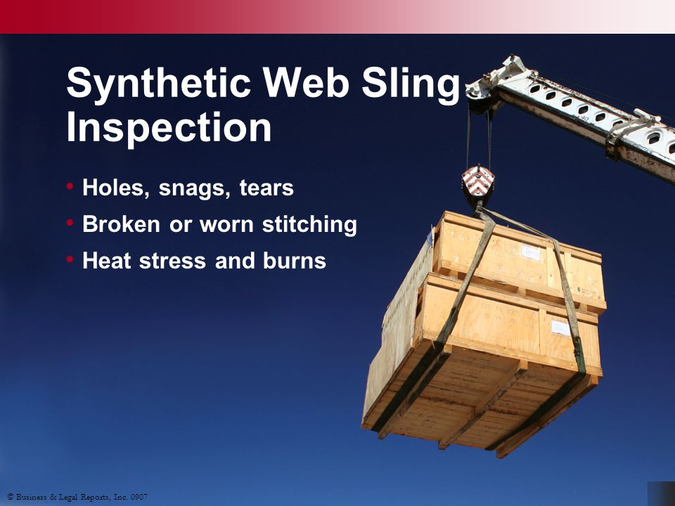 Synthetic Web Sling Inspection