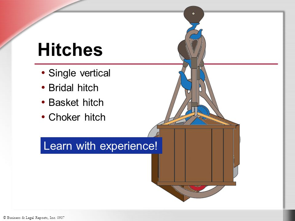 Hitches Learn with experience! Single vertical Bridal hitch