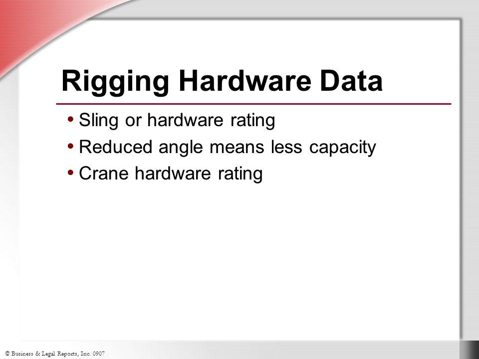 Rigging Hardware Data Sling or hardware rating