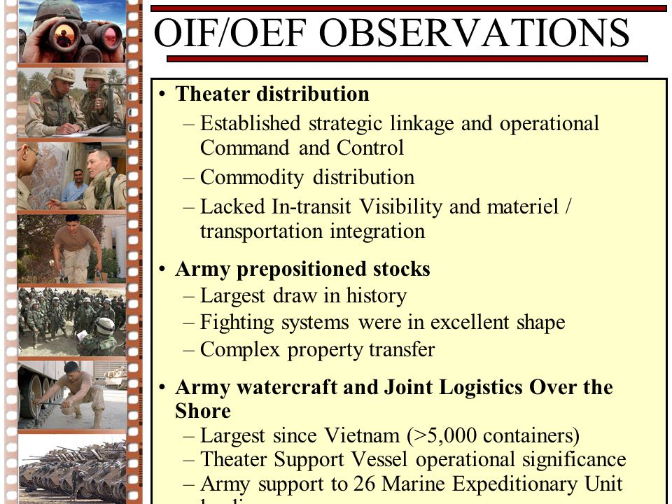 OIF/OEF OBSERVATIONS Theater distribution