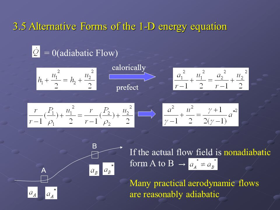 3.5 Alternative Forms of the 1-D energy equation