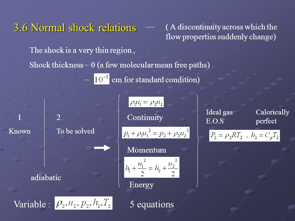 3.6 Normal shock relations