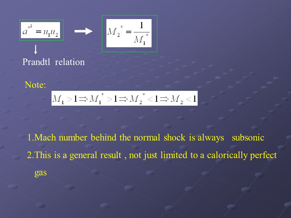 Prandtl relation Note: 1.Mach number behind the normal shock is always subsonic.