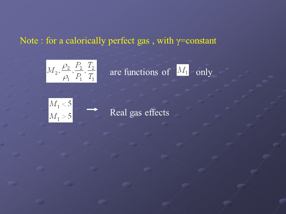 Note : for a calorically perfect gas , with γ=constant
