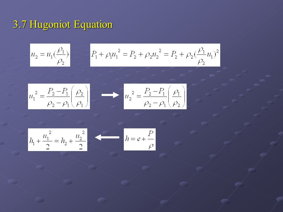 3.7 Hugoniot Equation