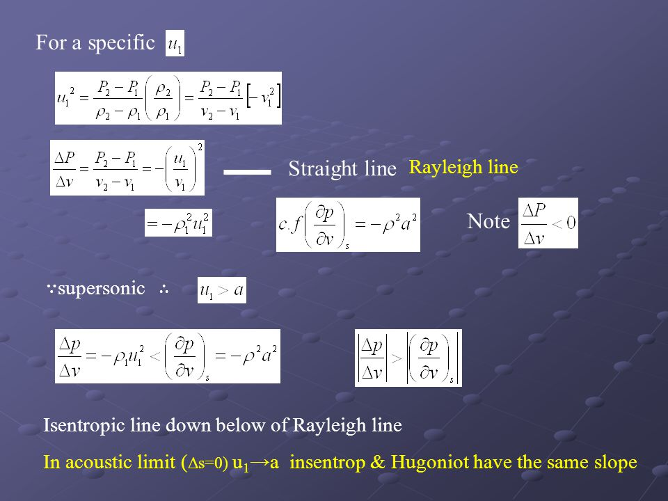 For a specific Straight line Note Rayleigh line ∵supersonic ∴