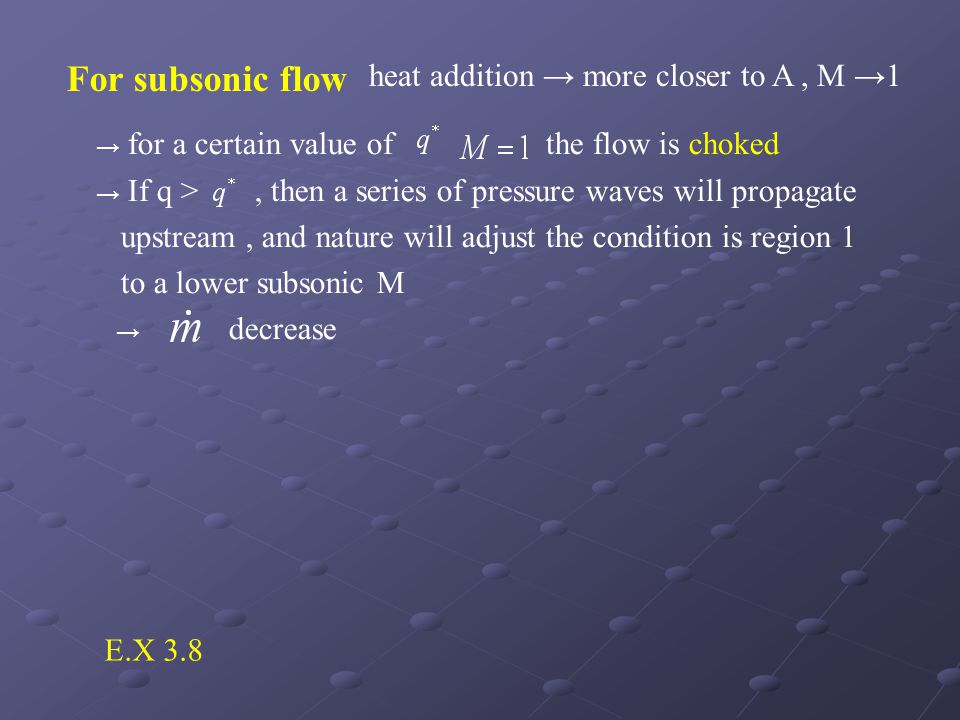 For subsonic flow heat addition → more closer to A , M →1