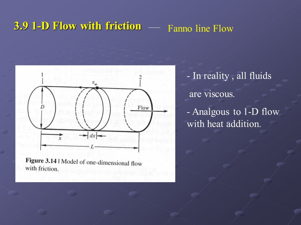3.9 1-D Flow with friction Fanno line Flow In reality , all fluids
