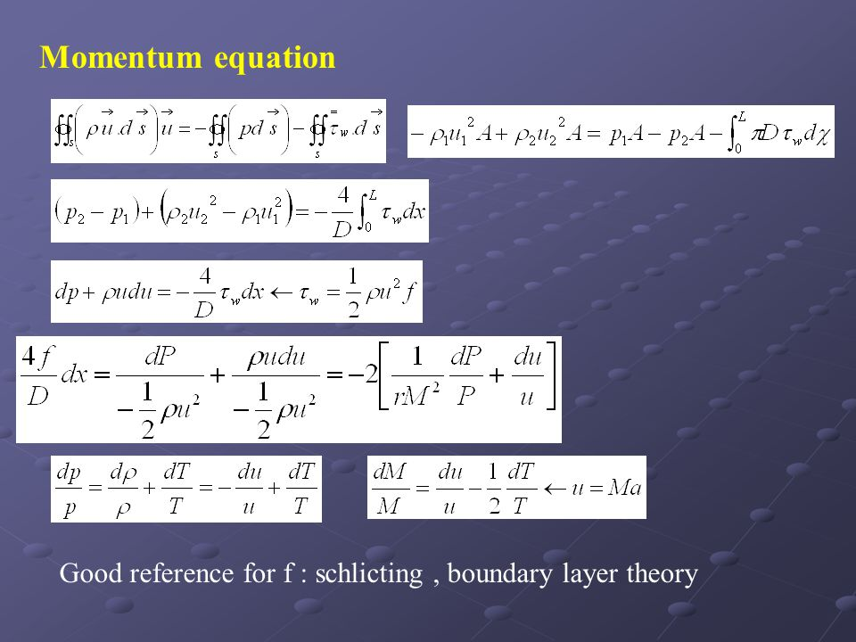 Momentum equation Good reference for f : schlicting , boundary layer theory