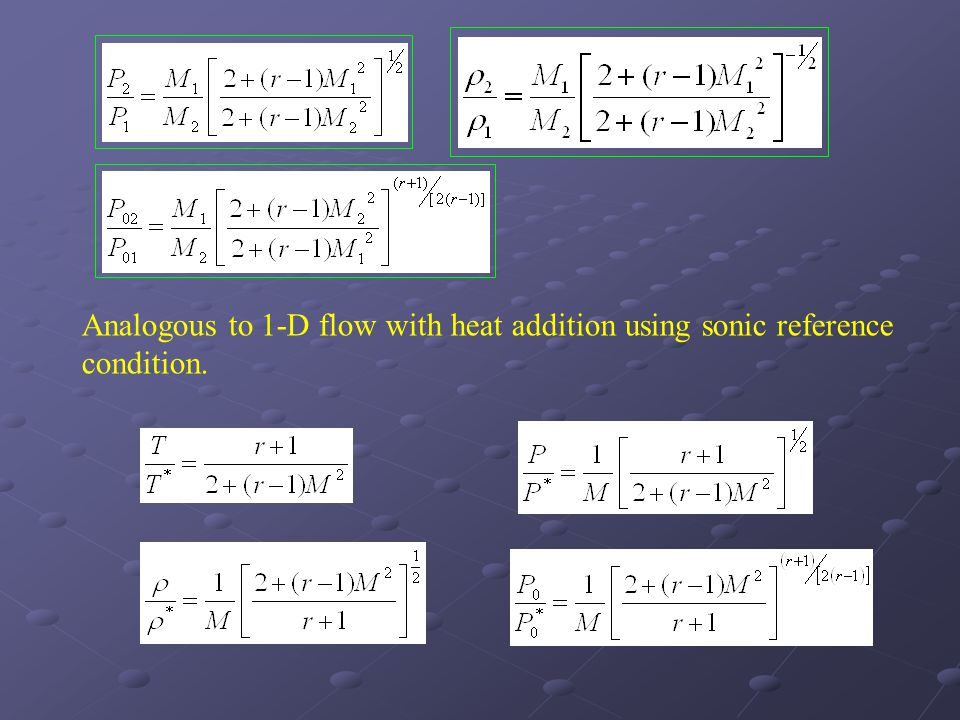 Analogous to 1-D flow with heat addition using sonic reference condition.