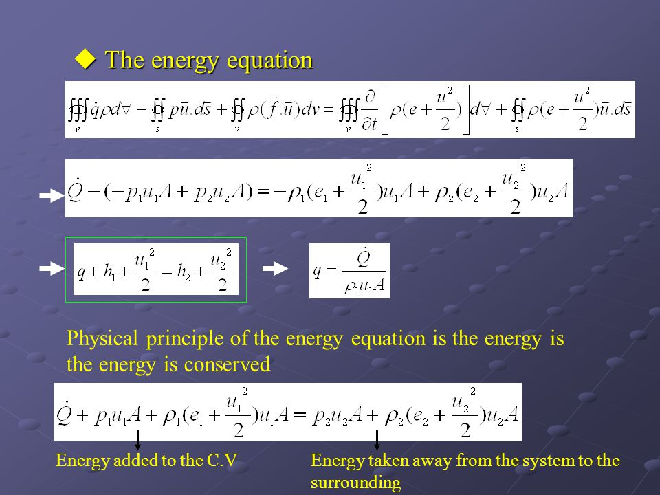 The energy equation Physical principle of the energy equation is the energy is the energy is conserved.