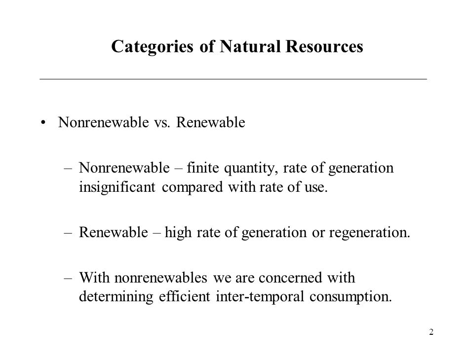 Categories of Natural Resources
