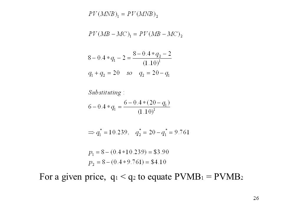 For a given price, q1 < q2 to equate PVMB1 = PVMB2