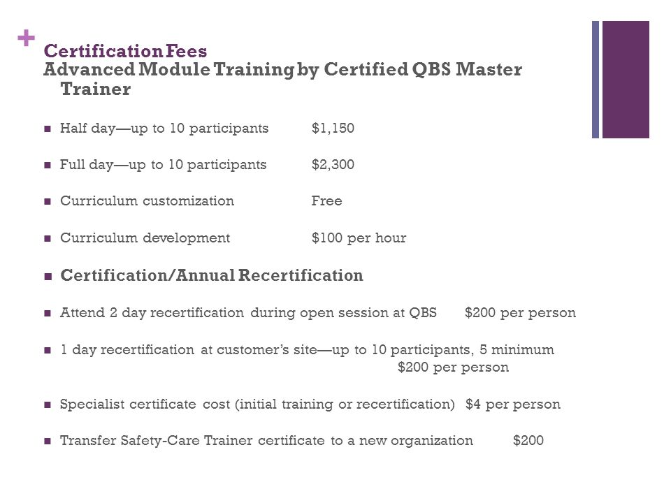 Advanced Module Training by Certified QBS Master Trainer