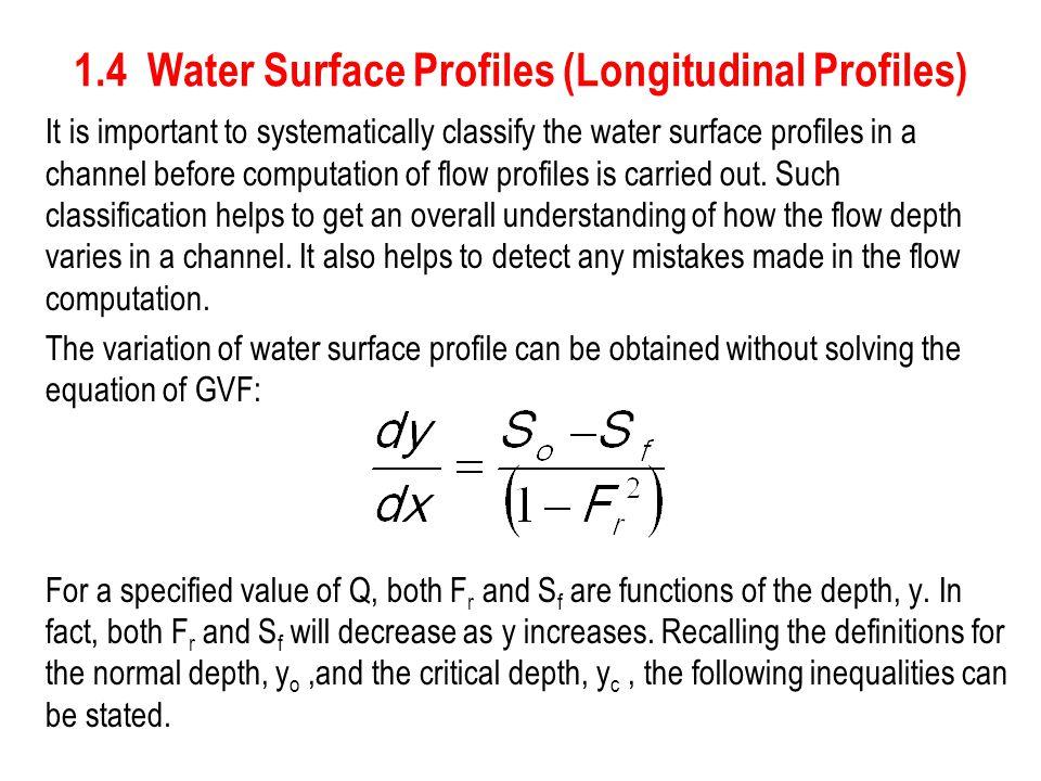 1.4 Water Surface Profiles (Longitudinal Profiles)