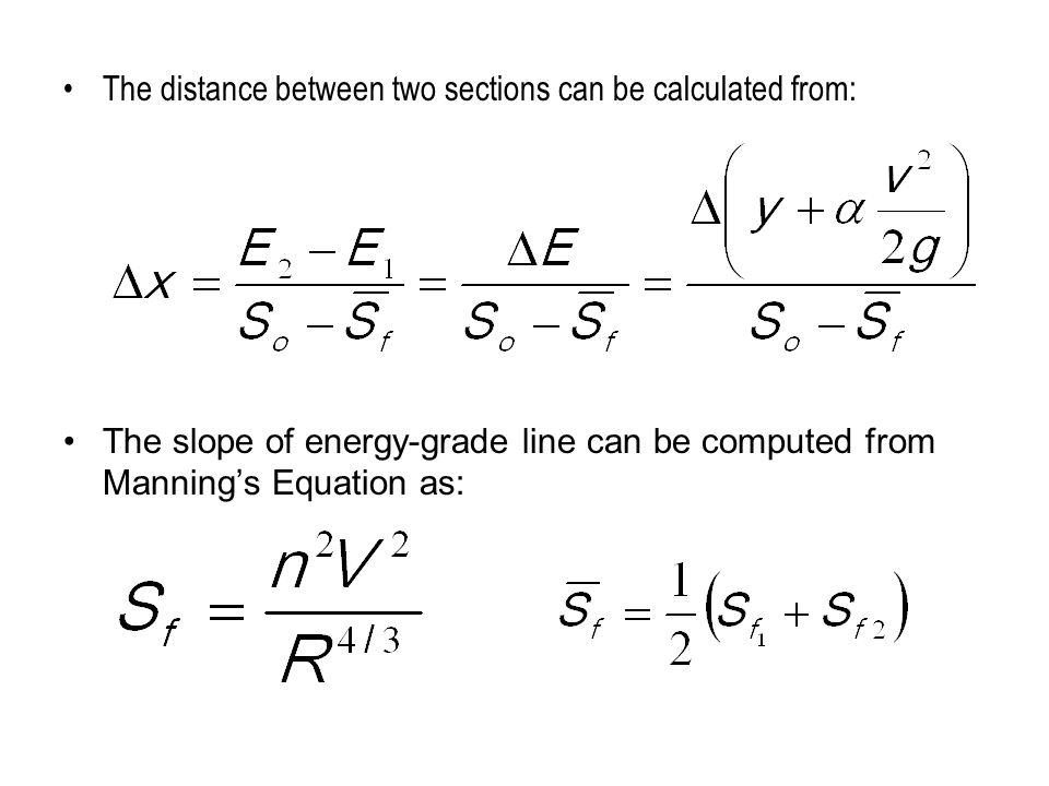 The distance between two sections can be calculated from: