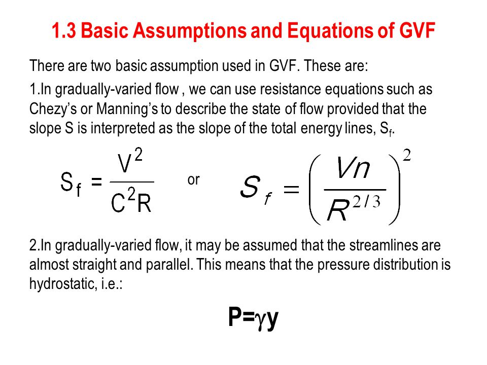1.3 Basic Assumptions and Equations of GVF