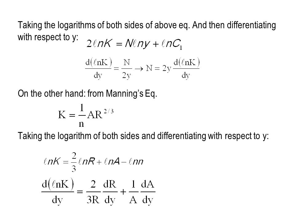 Taking the logarithms of both sides of above eq