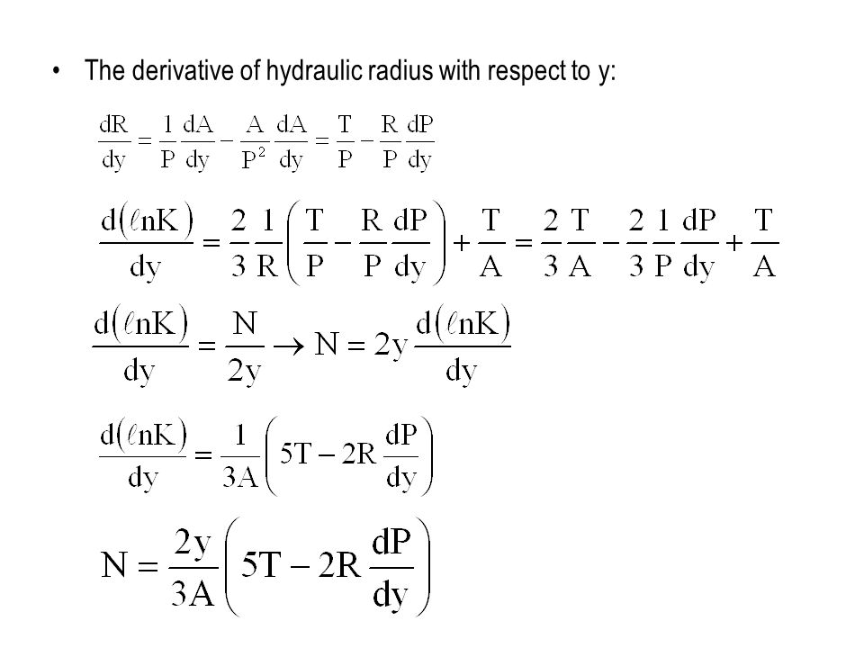 The derivative of hydraulic radius with respect to y: