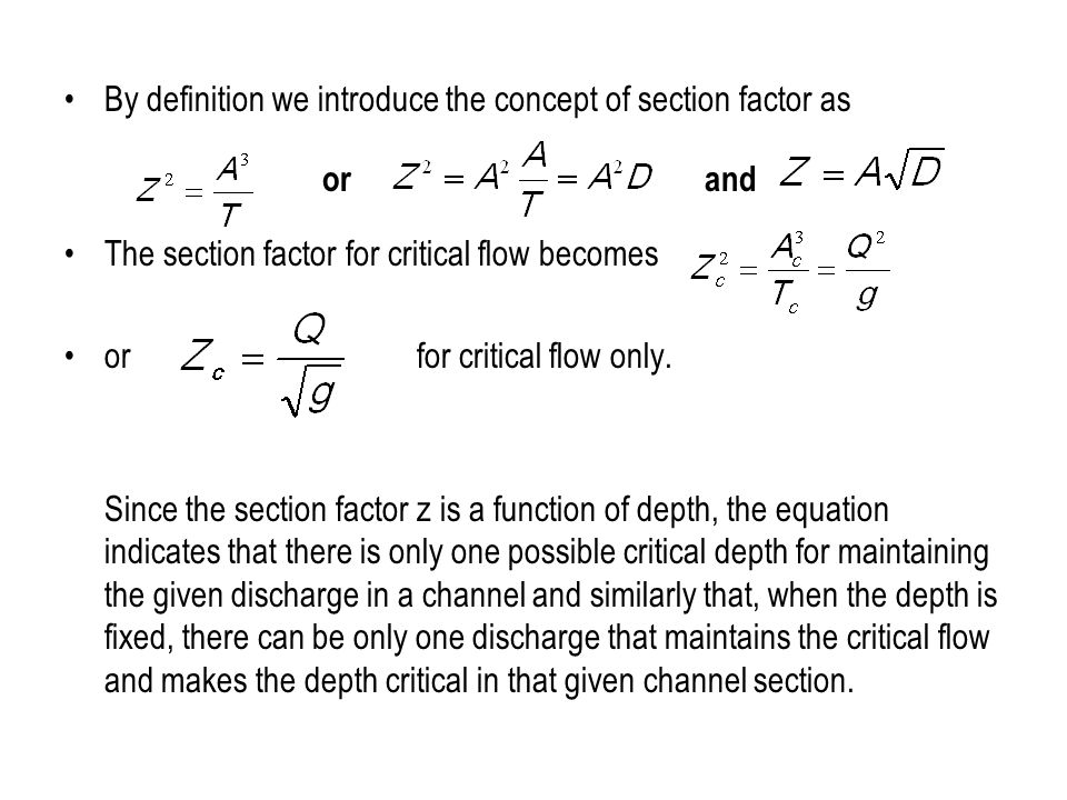 By definition we introduce the concept of section factor as