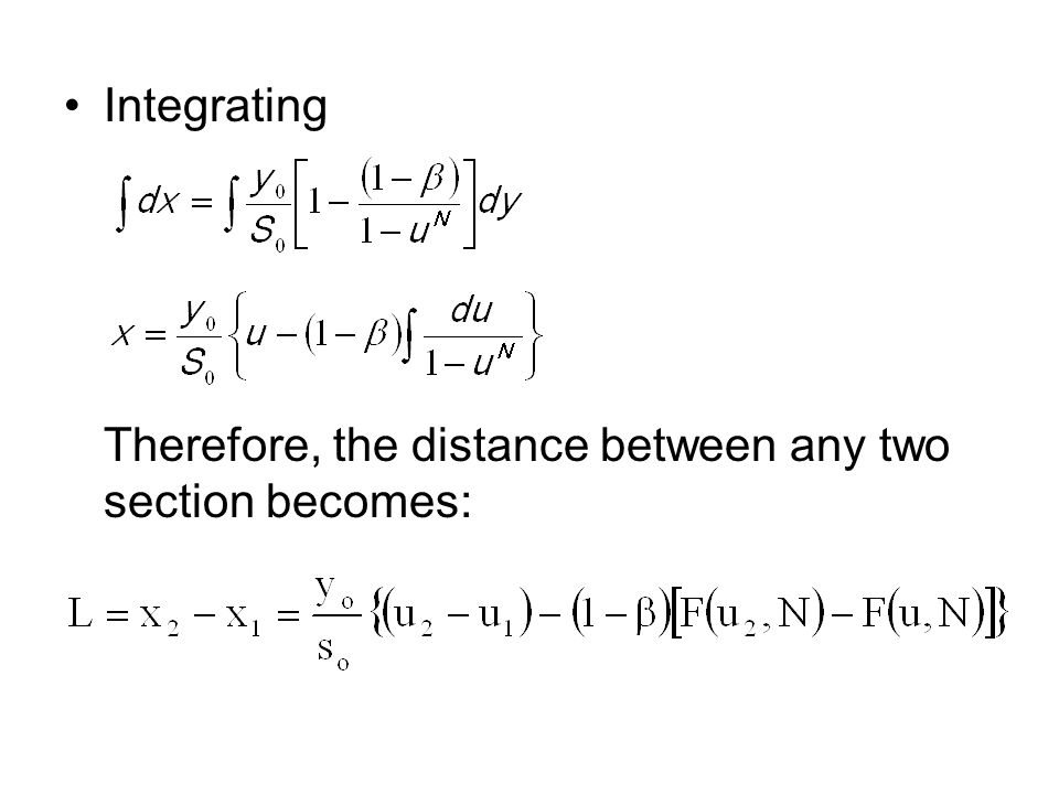 Integrating Therefore, the distance between any two section becomes: