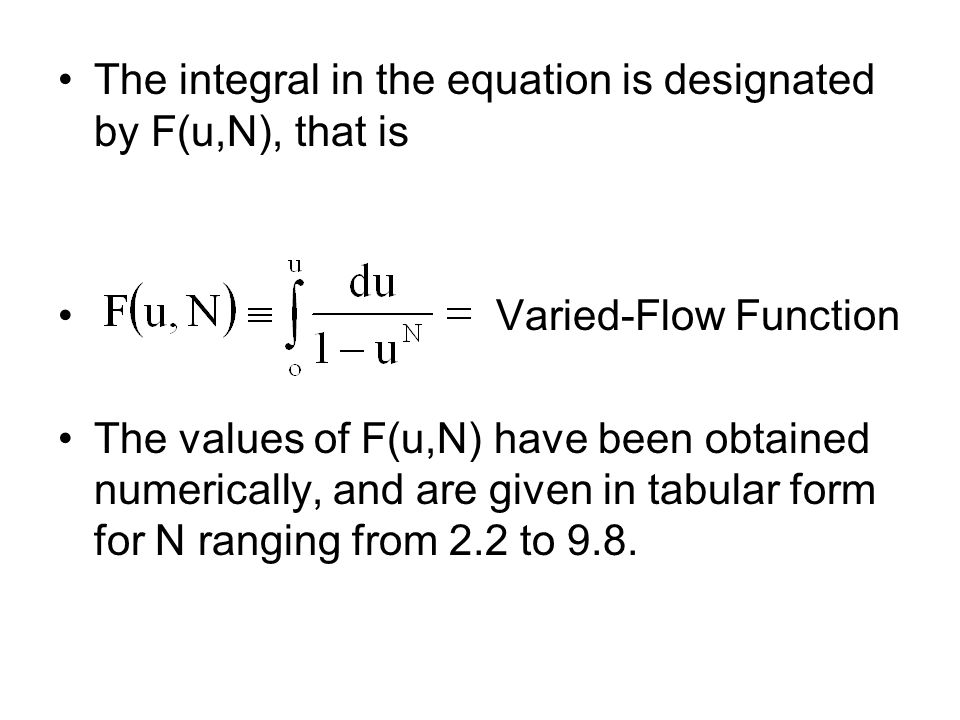 The integral in the equation is designated by F(u,N), that is