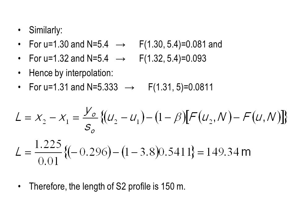 Similarly: For u=1.30 and N=5.4 → F(1.30, 5.4)=0.081 and. For u=1.32 and N=5.4 → F(1.32, 5.4)=0.093.