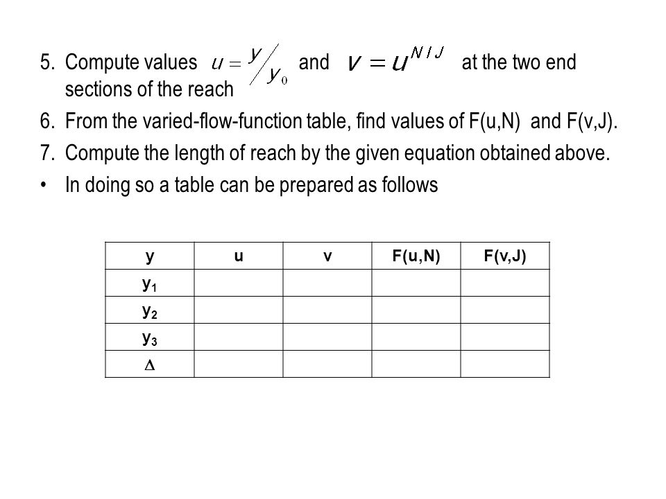 5. Compute values and at the two end sections of the reach