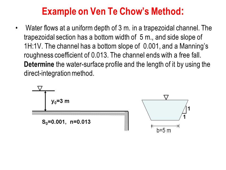 Example on Ven Te Chow's Method: