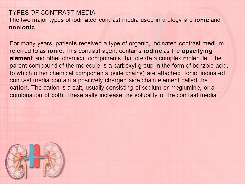 TYPES OF CONTRAST MEDIA