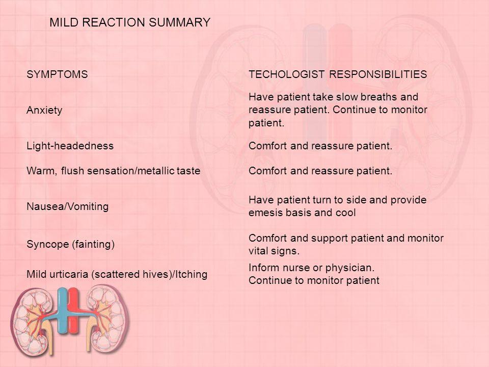 MILD REACTION SUMMARY SYMPTOMS TECHOLOGIST RESPONSIBILITIES Anxiety