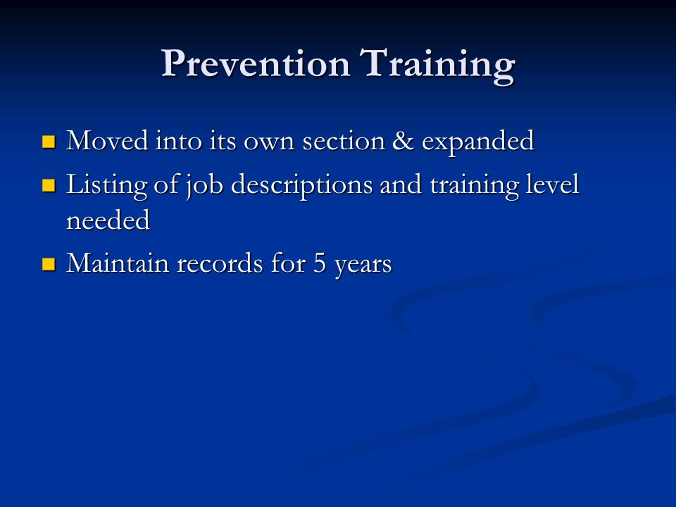 Prevention Training Moved into its own section & expanded