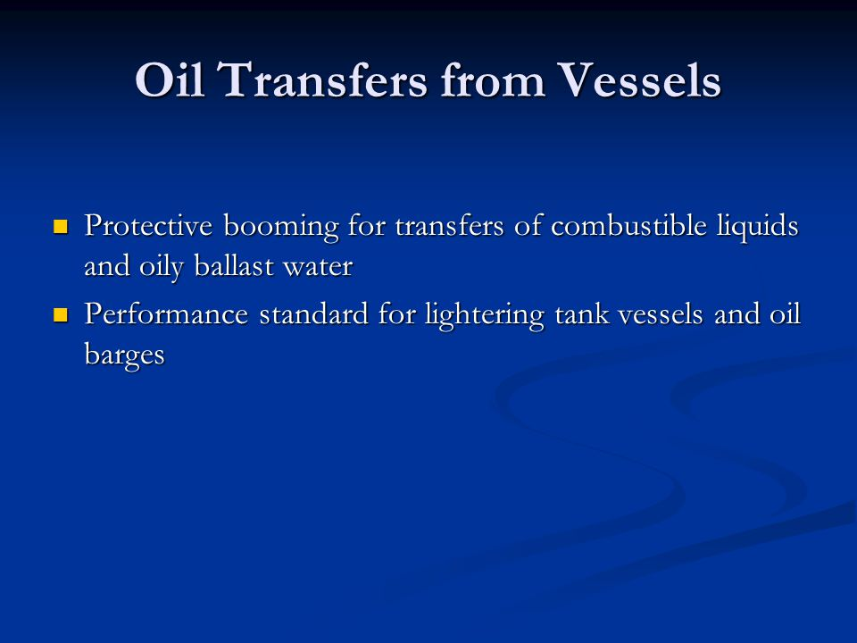 Oil Transfers from Vessels