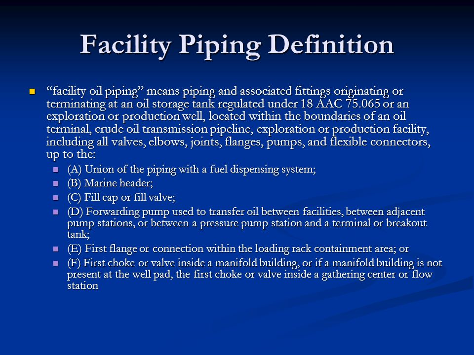 Facility Piping Definition