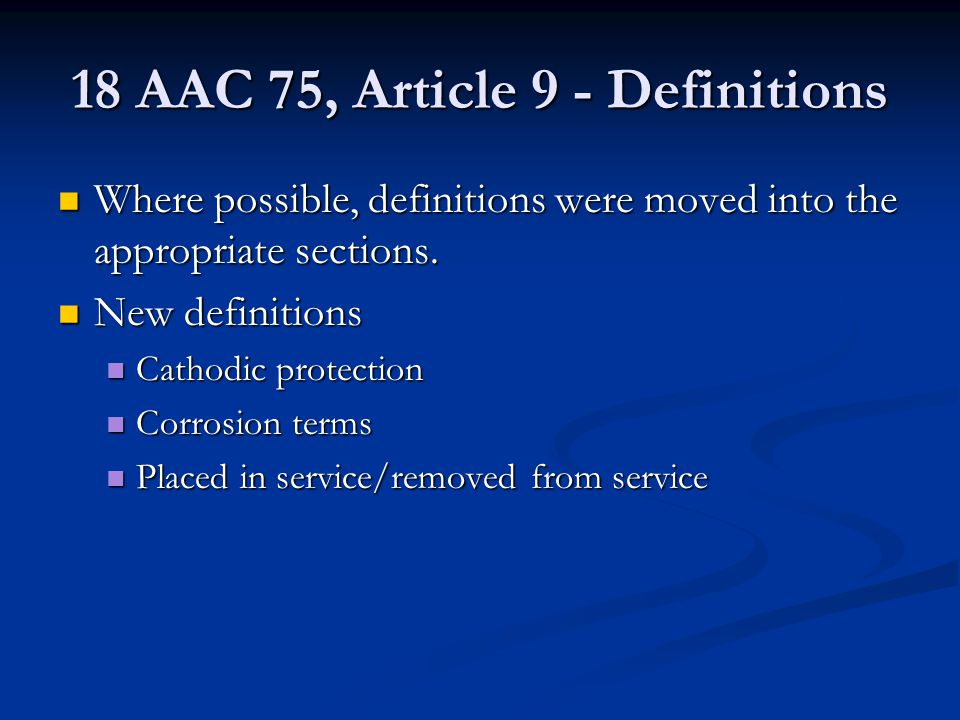 18 AAC 75, Article 9 - Definitions