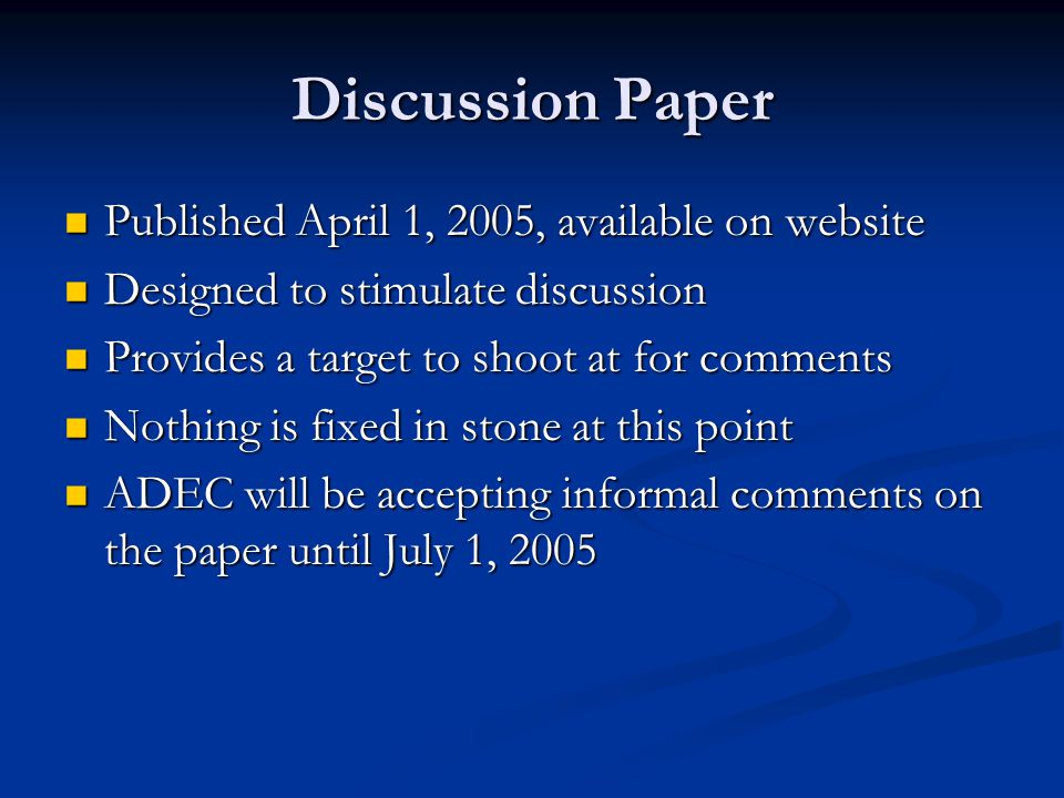 Discussion Paper Published April 1, 2005, available on website