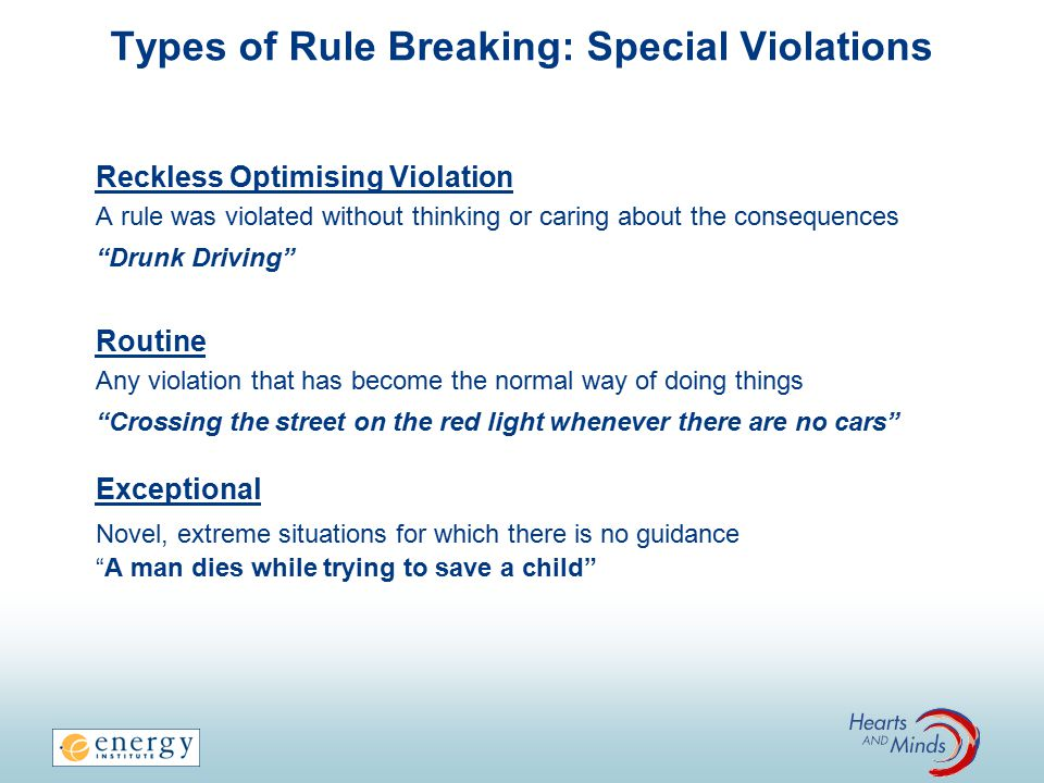 Types of Rule Breaking: Special Violations