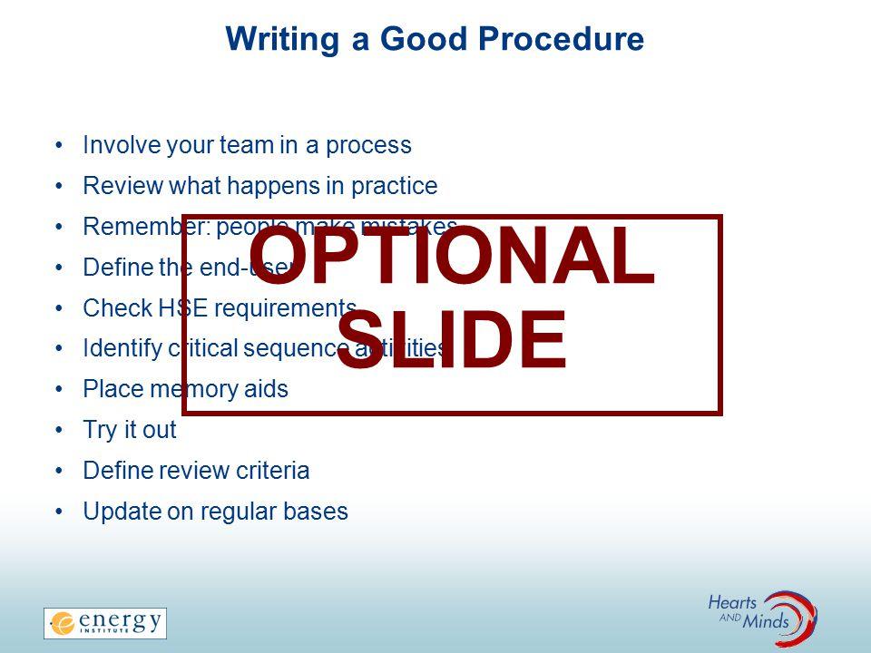 Writing a Good Procedure